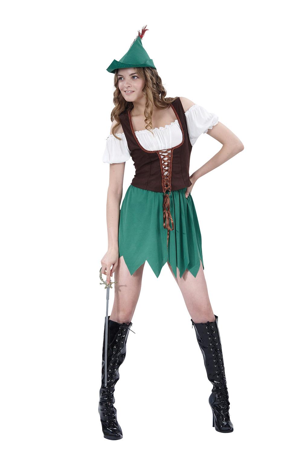 Ladies Robin Hood Halloween Fancy Dress Costume Hens Night Party Dress